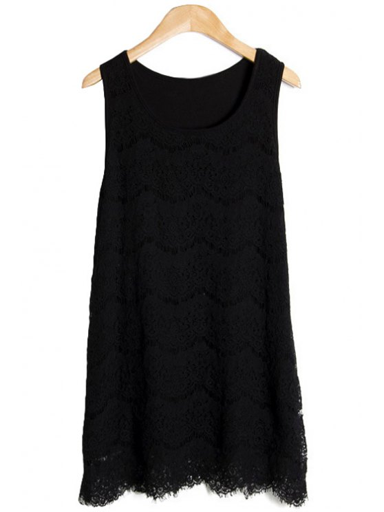 trendy Solid Color Lace Sundress - BLACK ONE SIZE(FIT SIZE XS TO M)