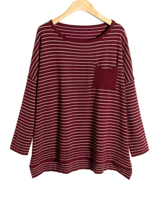 fashion Striped Long Sleeve Pocket T-Shirt - WINE RED ONE SIZE(FIT SIZE XS TO M)