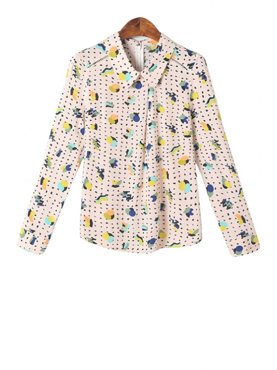 fashion Polo Collar Colorful Print Shirt - COLORMIX S