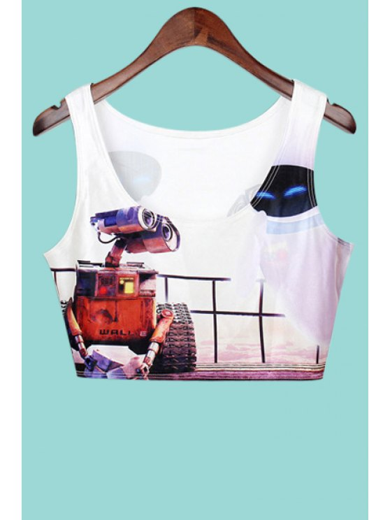 sale Robot Print Sleeveless Crop Top - WHITE ONE SIZE(FIT SIZE XS TO M)