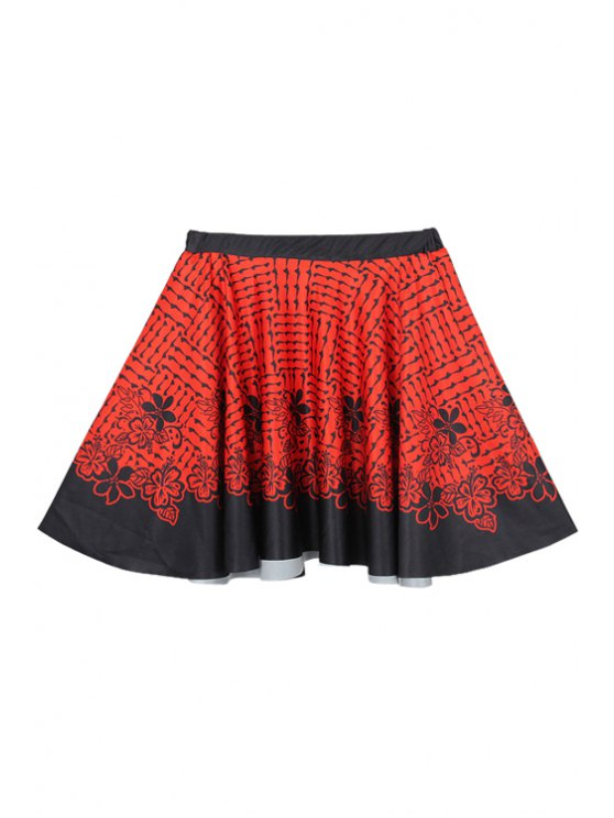 unique Flowers Print A-Line Skirt - RED WITH BLACK M