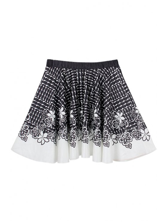 sale Flower Pattern A-Line Skirt - WHITE AND BLACK M
