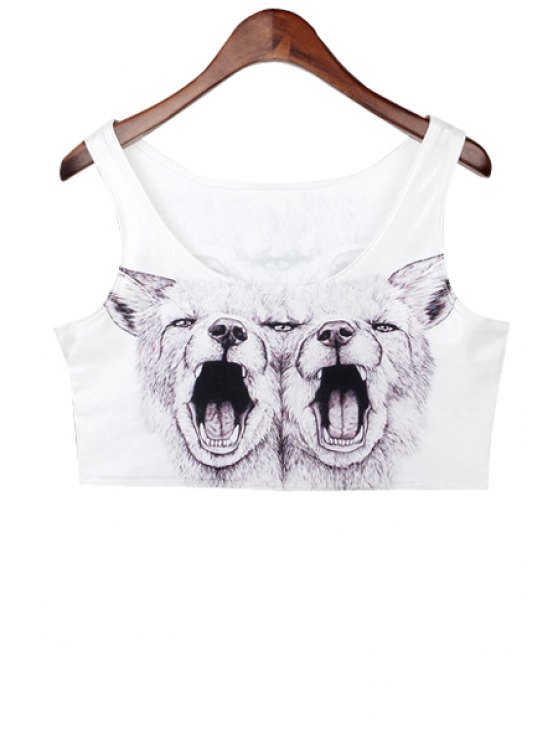 ladies Wolf Print Sleeveless Crop Top - WHITE ONE SIZE(FIT SIZE XS TO M)