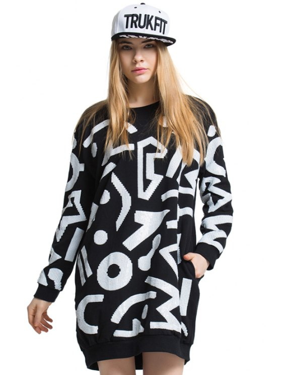fashion Abstract Pattern Sequins T-Shirt - BLACK ONE SIZE(FIT SIZE XS TO M)