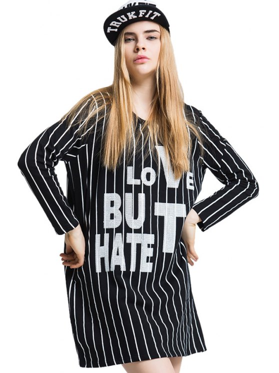 sale Letter Pattern Sequins Stripe T-Shirt - BLACK ONE SIZE(FIT SIZE XS TO M)
