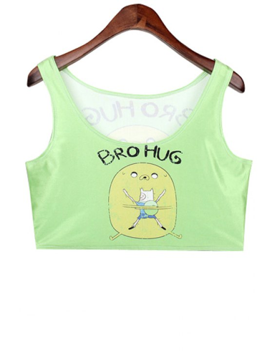 new Cartoon and Letter Print Crop Top - CELADON ONE SIZE(FIT SIZE XS TO M)