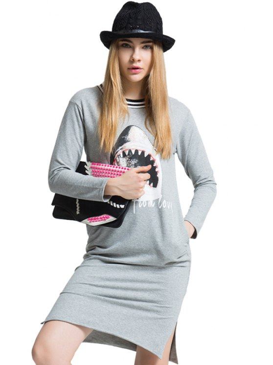 fancy Shark Print Side Slit T-Shirt - GRAY ONE SIZE(FIT SIZE XS TO M)