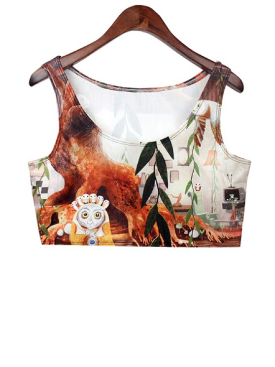 latest Cartoon Owl Print Crop Top - COLORMIX ONE SIZE(FIT SIZE XS TO M)