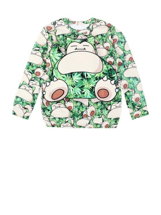 womens Cartoon and Leaf Print Sweatshirt - GREEN M