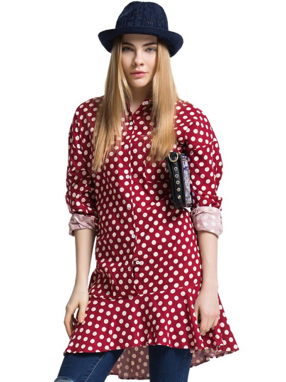 chic Preppy Style Polo Collar Polka Dot Flounce Splicing Long Sleeve Dress For Women - RED ONE SIZE(FIT SIZE XS TO M)