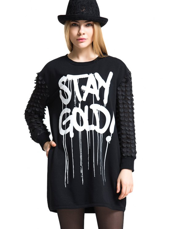 hot Letter Print Slice Splicing T-Shirt - BLACK ONE SIZE(FIT SIZE XS TO M)