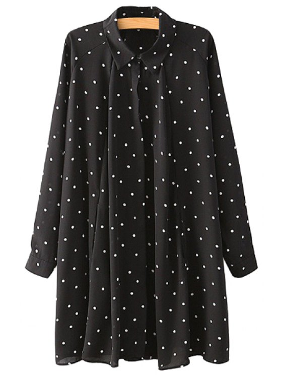 buy Polo Collar Polka Dot Dress - PURPLISH BLUE M