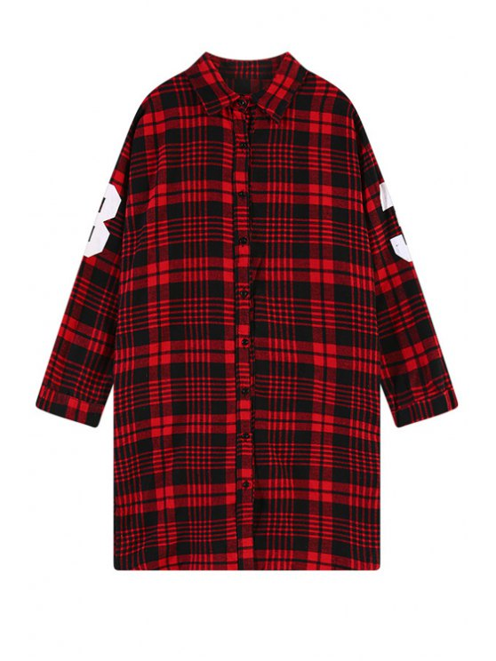 buy Number Print Plaid Shirt - RED ONE SIZE(FIT SIZE XS TO M)