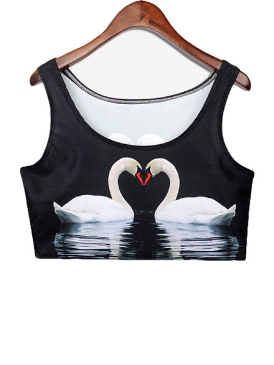 buy Swan Print Sleeveless Crop Top - BLACK ONE SIZE(FIT SIZE XS TO M)