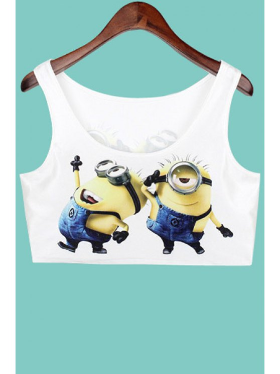 ladies Cartoon Pattern Sleeveless Crop Top - WHITE ONE SIZE(FIT SIZE XS TO M)