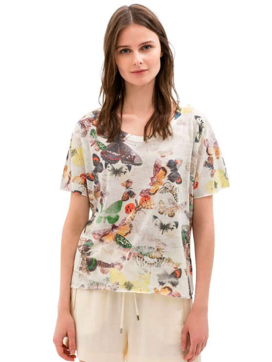 women Scoop Neck Butterfly Print T-Shirt - WHITE ONE SIZE(FIT SIZE XS TO M)