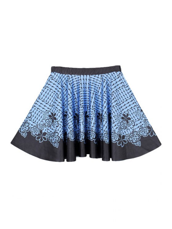 lady Blue Flower Print A-Line Skirt - BLUE AND BLACK M