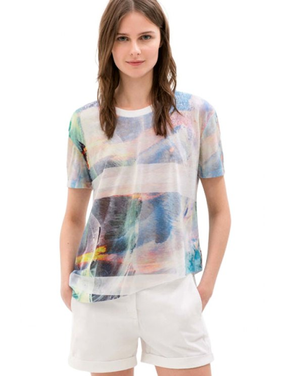 women's Print Color Block Short Sleeve T-Shirt - COLORMIX ONE SIZE(FIT SIZE XS TO M)