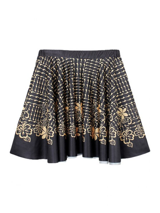 best Golden Flower Print A-Line Skirt - BLACK M