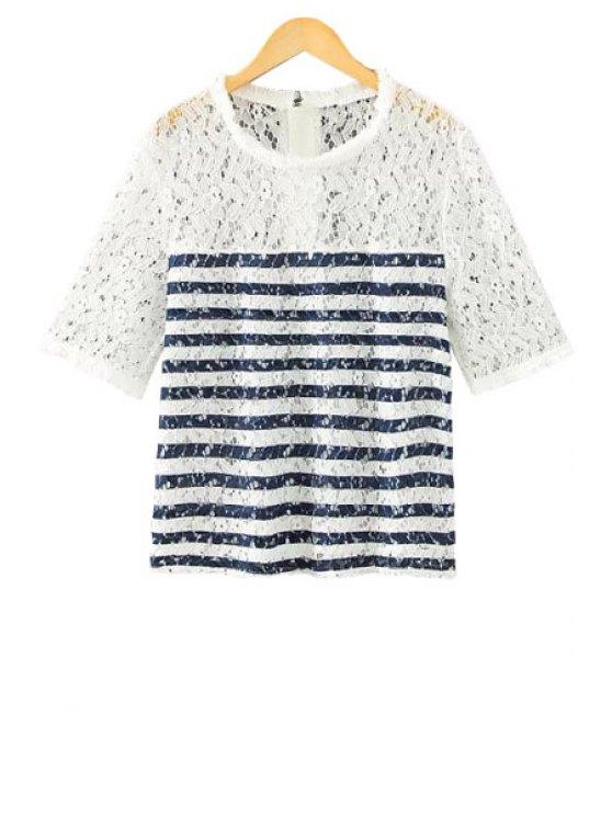 ladies Stripe Lace Splicing Openwork T-Shirt - BLUE S