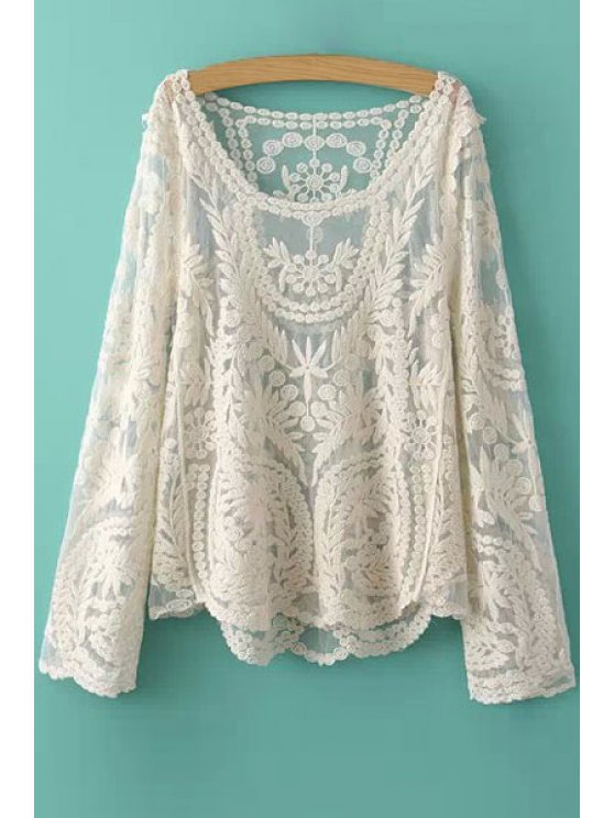 online Solid Color Leaves Pattern Lace Blouse - OFF-WHITE ONE SIZE(FIT SIZE XS TO M)