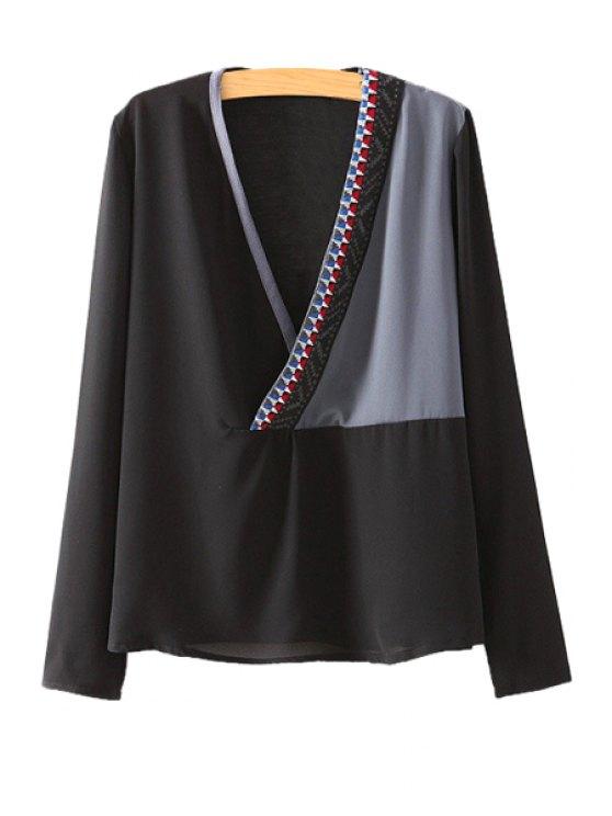 best Plunging Neck Color Block Blouse - BLACK S