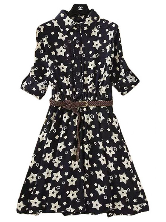 fashion Turn-Down Collar Star Print Dress - WHITE AND BLACK S