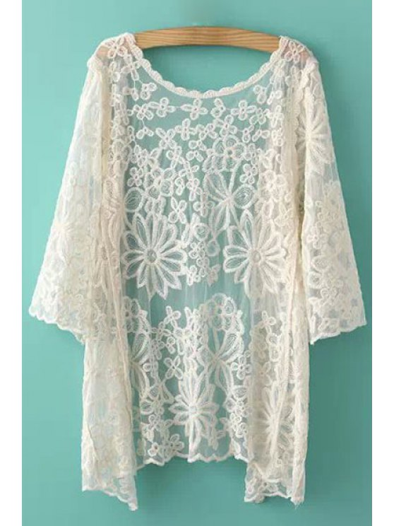 outfit Collarless Floral Pattern Lace Coat - OFF-WHITE ONE SIZE(FIT SIZE XS TO M)
