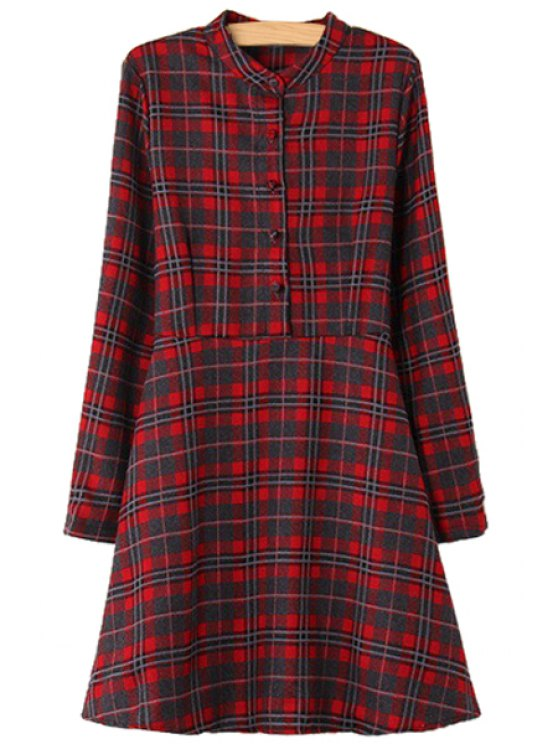 womens Plaid Print Stand Collar Dress - RED ONE SIZE(FIT SIZE XS TO M)