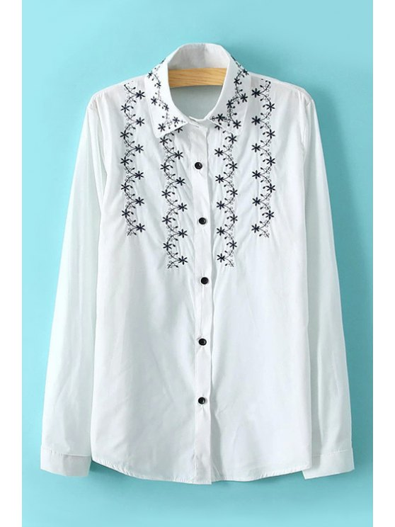 hot Flower Embroidery Shirt - WHITE ONE SIZE(FIT SIZE XS TO M)