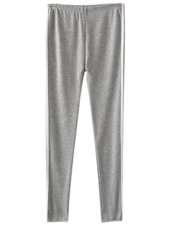 ladies Striped Splicing Leggings - GRAY ONE SIZE(FIT SIZE XS TO M)