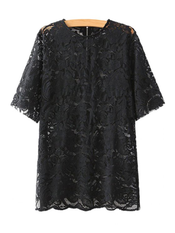 outfit Short Sleeve Lace Blouse - BLACK M