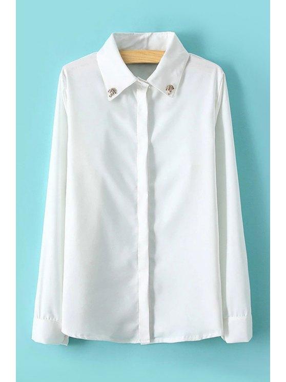 women Umbrella Rhinestone Embellished Shirt - WHITE ONE SIZE(FIT SIZE XS TO M)