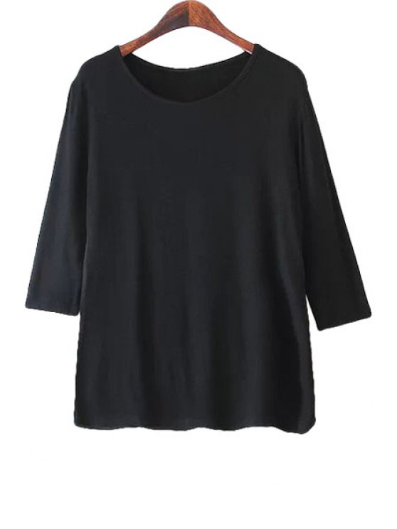 fashion Solid Color Loose-Fitting Half Sleeve T-Shirt - BLACK S