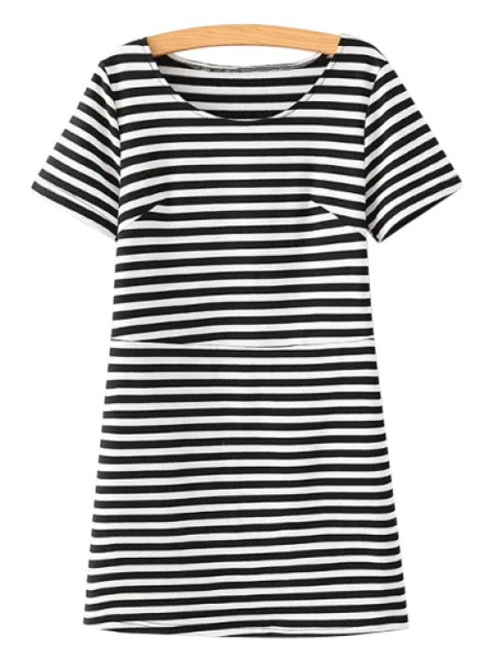 outfit Striped Pattern Short Sleeve Dress - WHITE AND BLACK S