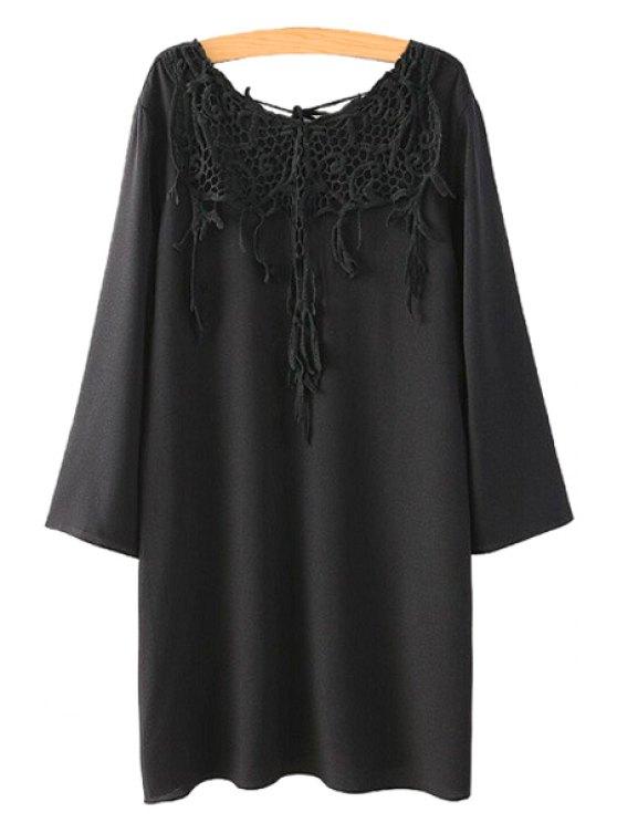 latest Crochet Splicing Long Sleeves Dress - BLACK L