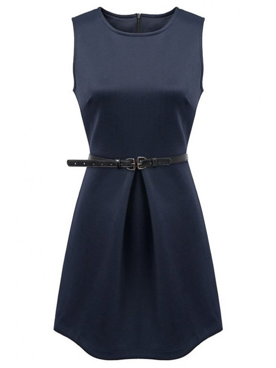 fashion Jewel Neck Solid Color Sundress - PURPLISH BLUE S