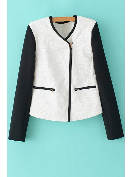 latest V-Neck Color Block Zipper Coat - WHITE S