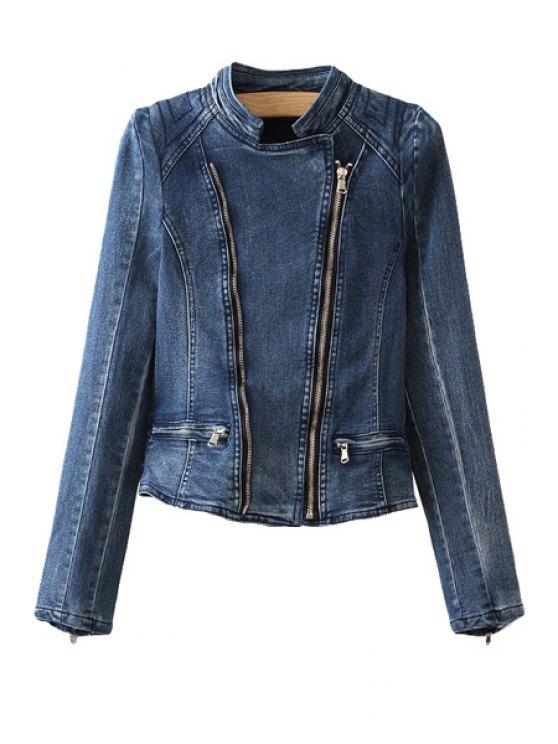 chic Bleach Wash Zipper Denim Coat - BLUE S