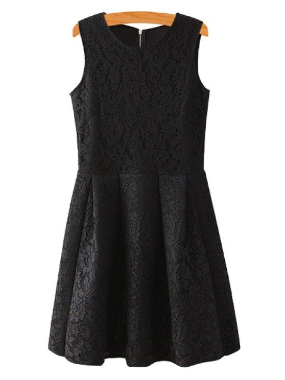 online Lace Scoop Collar Sundress - BLACK S