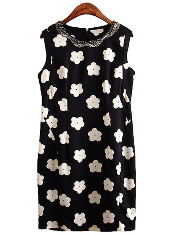 unique Floral Print Rhinestone Embellished Dress - WHITE AND BLACK S
