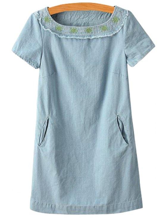 unique Embroidery Short Sleeve Denim Dress - LIGHT BLUE S