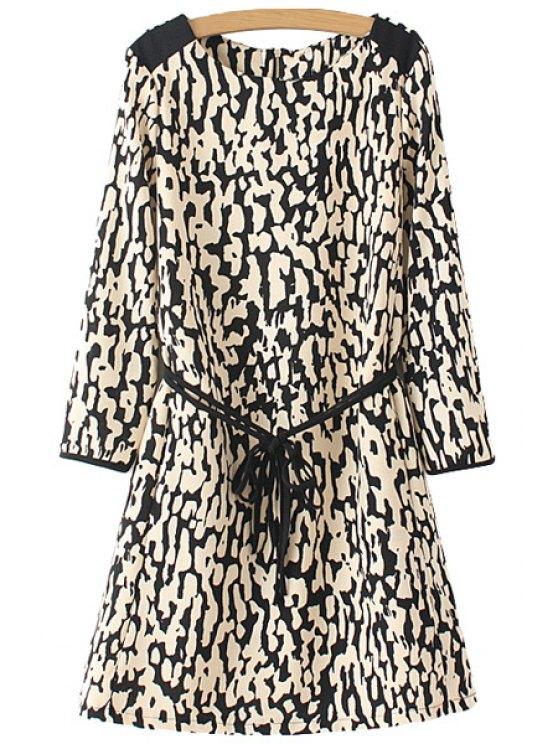 latest Leopard Pattern Tie-Up Back Zipper Dress - COLORMIX S