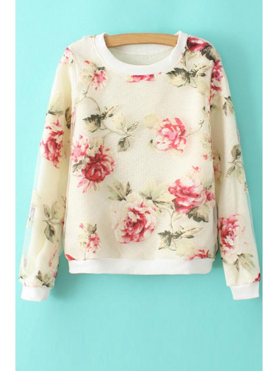 ladies Floral Print Voile Splicing Sweatshirt - AS THE PICTURE S