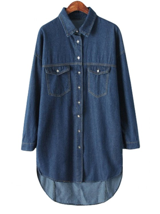 sale Solid Color Long Sleeve Denim Shirt - CADETBLUE ONE SIZE(FIT SIZE XS TO M)