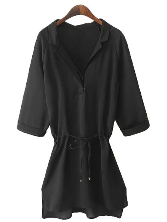 latest Solid Color Tie-Up Half Sleeve Shirt - BLACK S