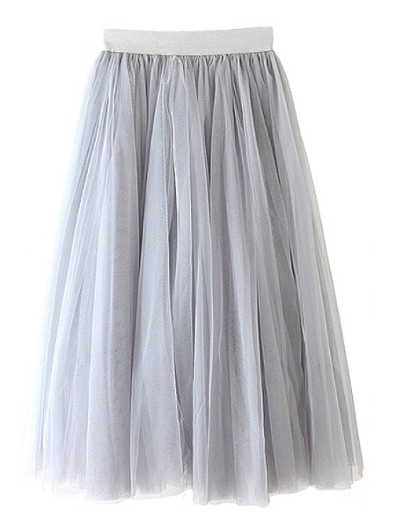 hot Solid Color Voile A-Line Skirt - GRAY ONE SIZE(FIT SIZE XS TO M)