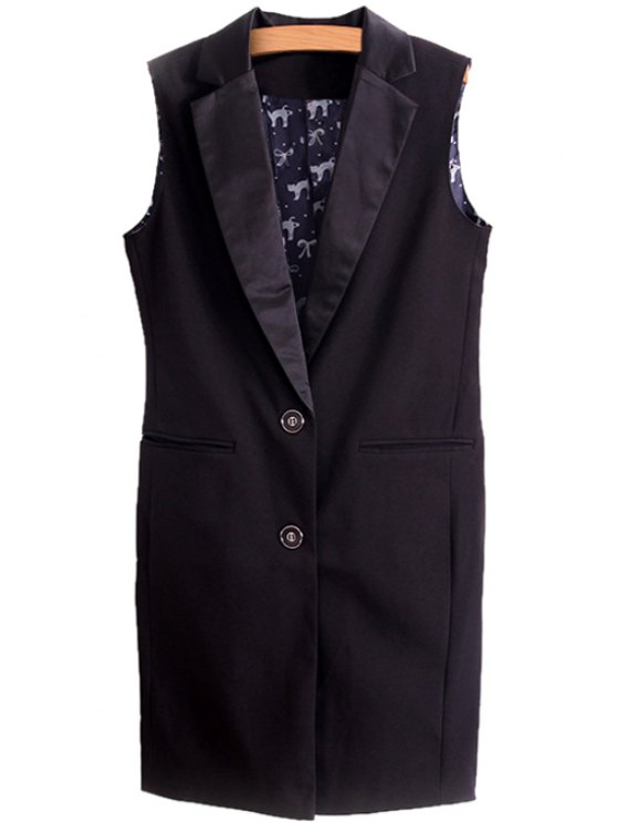 online Lapel Two Buttons Waistcoat - BLACK S
