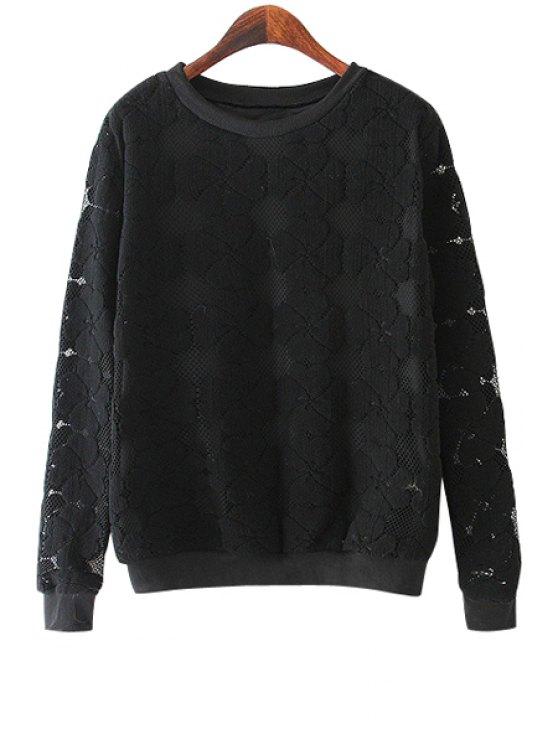 affordable Four-Leaf Clover Pattern Lace Sweatshirt - BLACK M