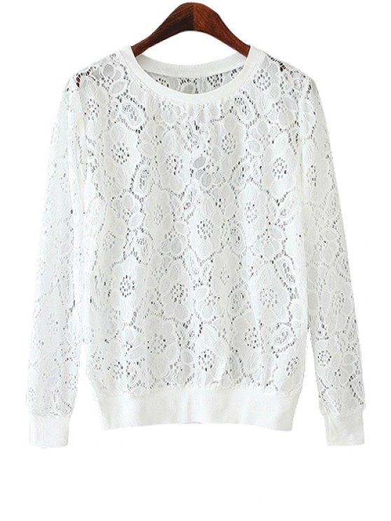 online Rose Pattern Lace Sweatshirt - WHITE M